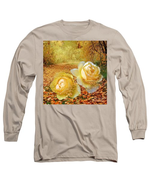 Long Sleeve T-Shirt featuring the photograph Roses In The Woods In Autumn by Annie Zeno