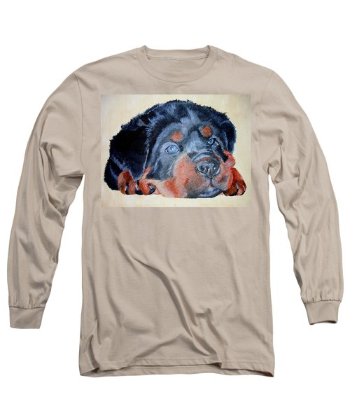 Long Sleeve T-Shirt featuring the painting Rottweiler Puppy Portrait by Tracey Harrington-Simpson