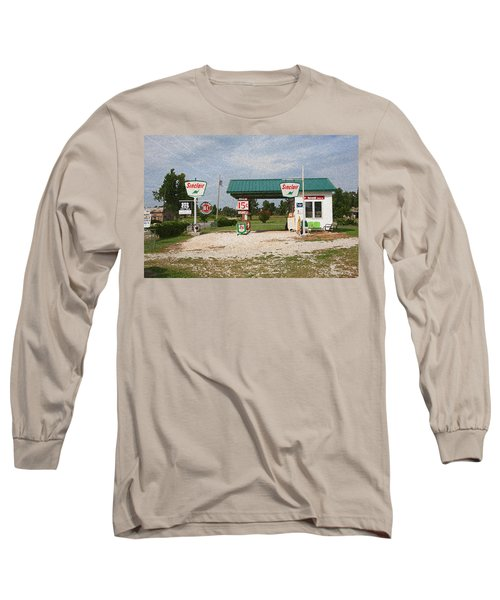 Route 66 Gas Station With Sponge Painting Effect Long Sleeve T-Shirt