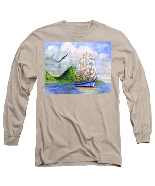 Royal Clipper Leaving St. Lucia Long Sleeve T-Shirt