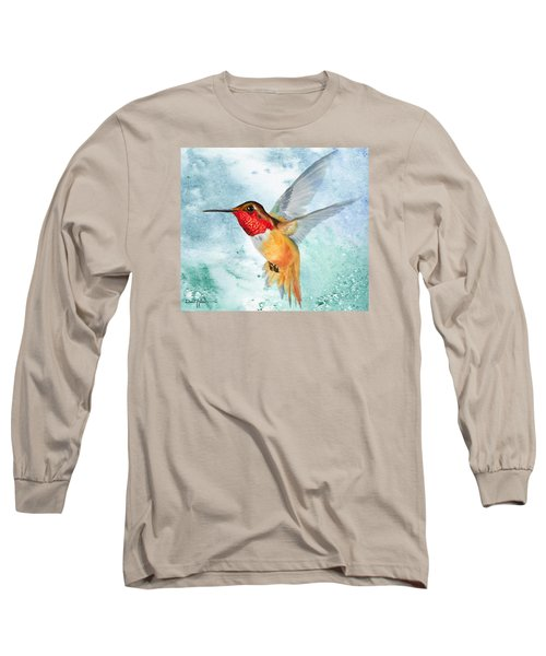 Da199 Rufous Humming Bird By Daniel Adams Long Sleeve T-Shirt