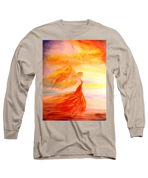 Long Sleeve T-Shirt featuring the painting Running Along The Beach by Lilia D