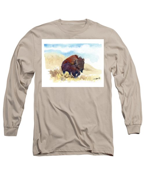 Running Buffalo Long Sleeve T-Shirt by C Sitton