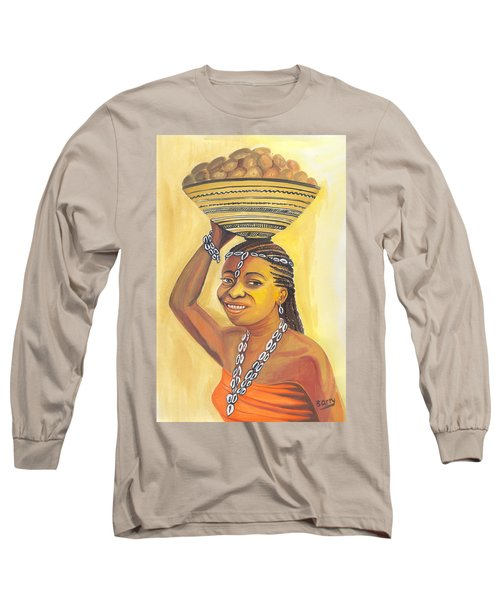 Long Sleeve T-Shirt featuring the painting Rural Woman From Cameroon by Emmanuel Baliyanga