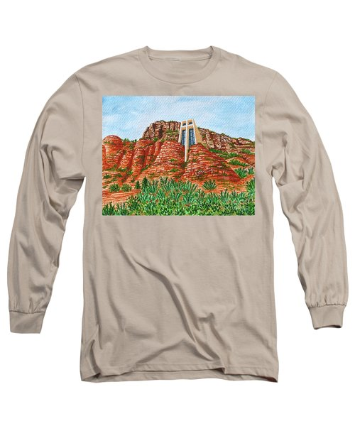 Long Sleeve T-Shirt featuring the painting Sadona Church by Val Miller