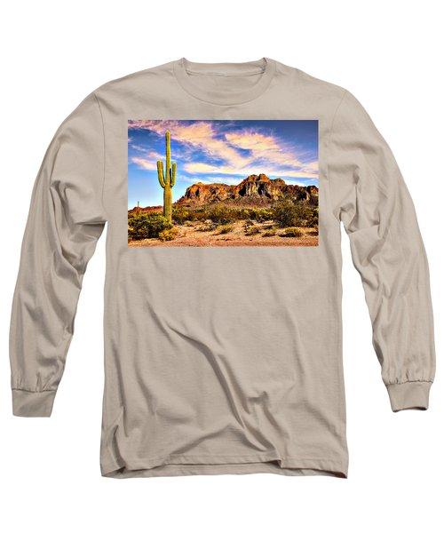 Saguaro Superstition Mountains Arizona Long Sleeve T-Shirt by Bob and Nadine Johnston