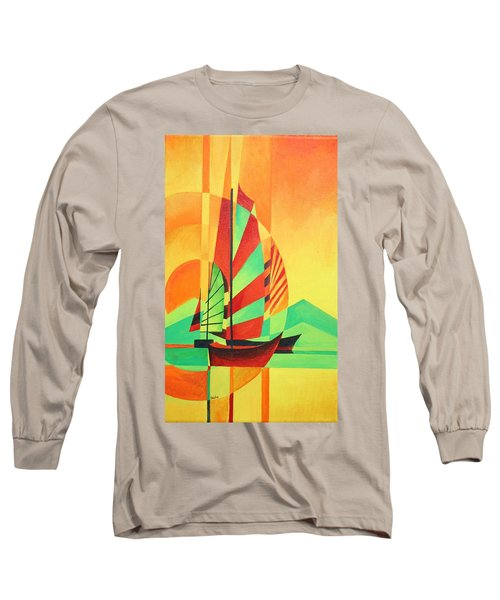 Long Sleeve T-Shirt featuring the painting Sail To Shore by Tracey Harrington-Simpson