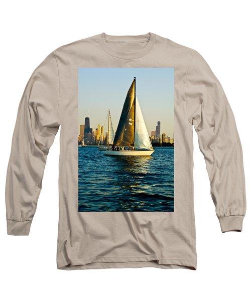 Sailboat In A Lake, Lake Michigan Long Sleeve T-Shirt