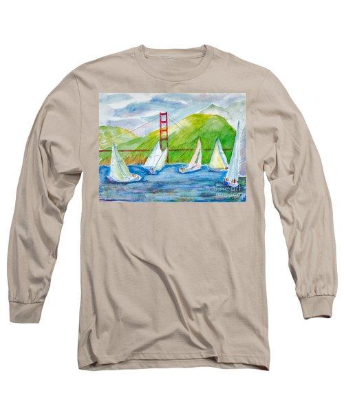 Sailboat Race At The Golden Gate Long Sleeve T-Shirt
