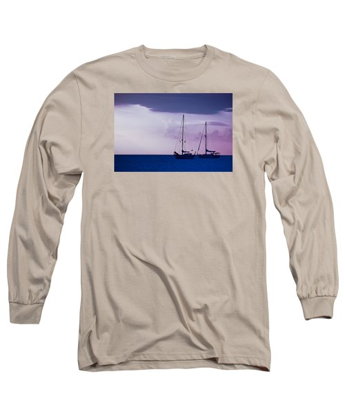 Long Sleeve T-Shirt featuring the photograph Sailboats At Sunset by Don Schwartz