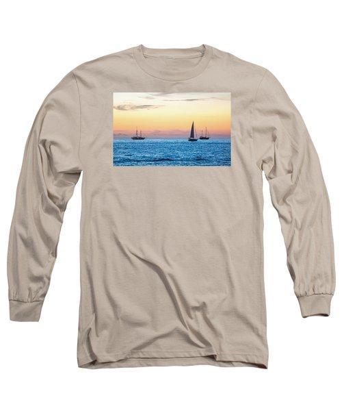 Sailboats At Sunset Off Key West Florida Long Sleeve T-Shirt