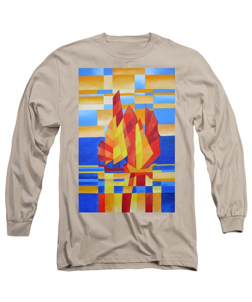 Long Sleeve T-Shirt featuring the painting Sailing On The Seven Seas So Blue by Tracey Harrington-Simpson
