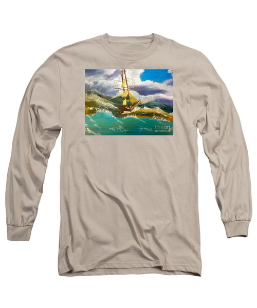 Sailing Ship In A Storm Long Sleeve T-Shirt by Pamela  Meredith