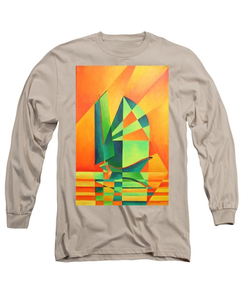 Long Sleeve T-Shirt featuring the painting Sails At Sunrise by Tracey Harrington-Simpson