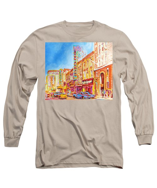 Long Sleeve T-Shirt featuring the painting Saint Catherine Street Montreal by Carole Spandau