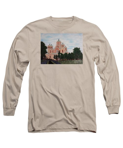 Long Sleeve T-Shirt featuring the painting Saint Marko Church  Belgrade  Serbia  by Jasna Gopic