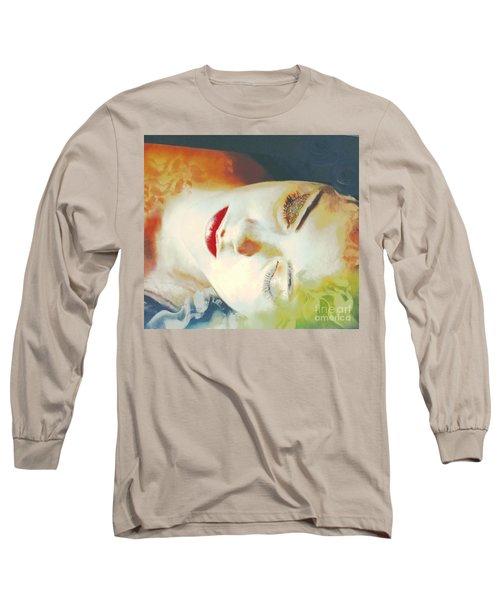 Long Sleeve T-Shirt featuring the digital art Sally Sleeps by Kim Prowse