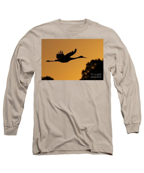 Sandhill Crane In Flight Long Sleeve T-Shirt