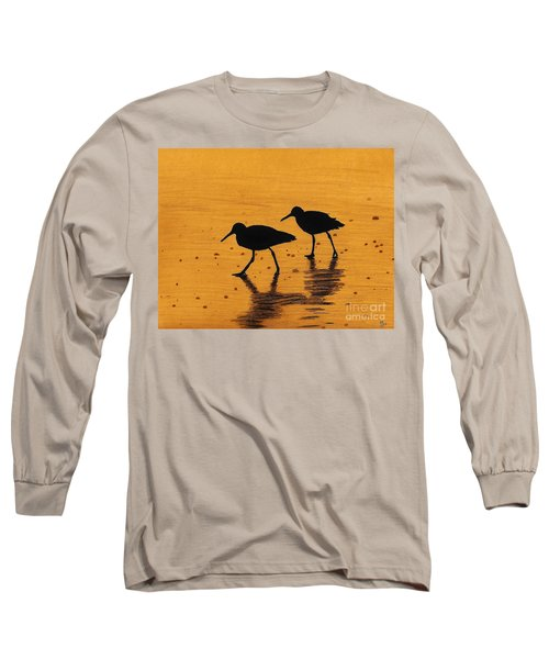 Sandpipers - At - Sunrise Long Sleeve T-Shirt by D Hackett