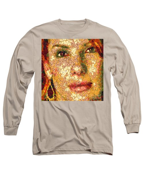 Long Sleeve T-Shirt featuring the digital art Sandra Bullock In The Way Of Arcimboldo by Dragica  Micki Fortuna