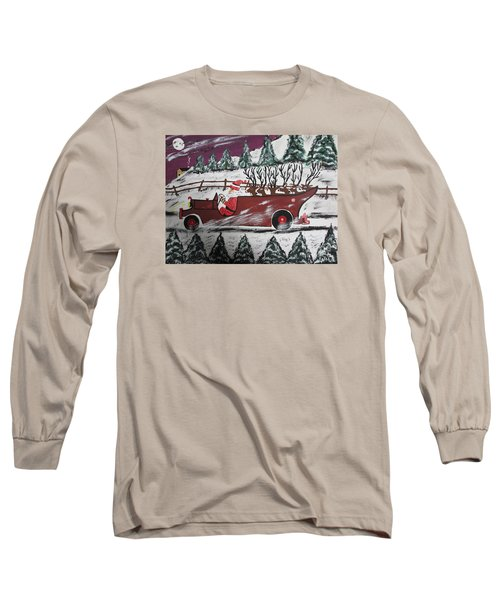 Long Sleeve T-Shirt featuring the painting Santa's Truckload by Jeffrey Koss