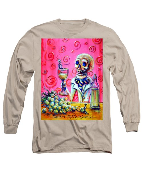 Long Sleeve T-Shirt featuring the painting Mi Sauvignon Blanc by Heather Calderon