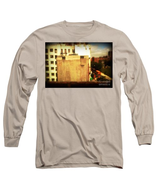 Long Sleeve T-Shirt featuring the photograph School Bus With White Building by Miriam Danar