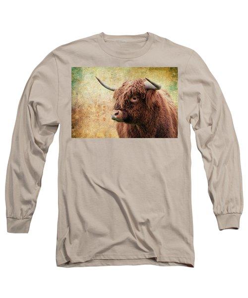 Scottish Highland Steer Long Sleeve T-Shirt by Steve McKinzie