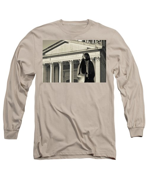 Sculpture Of Native American Long Sleeve T-Shirt by Panoramic Images