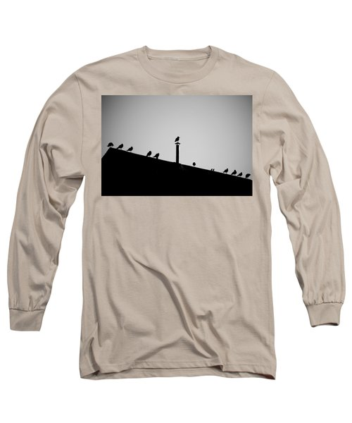 Sea Gulls In Silhouette Long Sleeve T-Shirt
