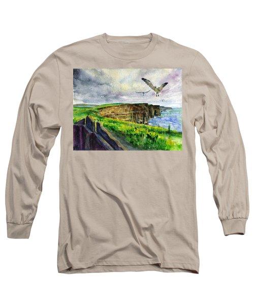 Seagulls At The Cliffs Of Moher Long Sleeve T-Shirt by John D Benson