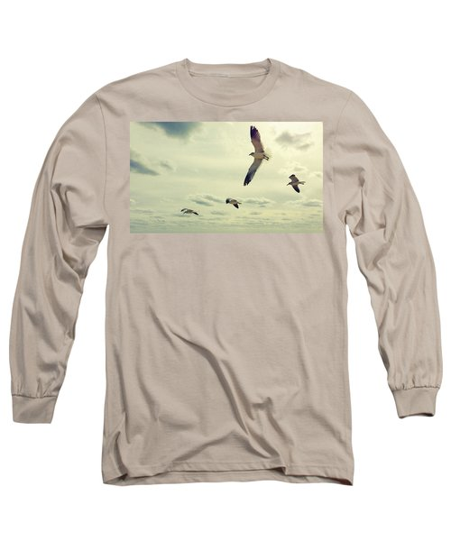 Seagulls In Flight Long Sleeve T-Shirt by Bradley R Youngberg