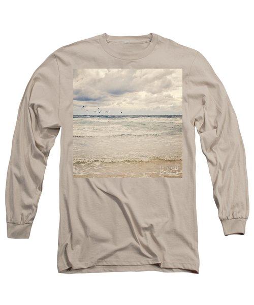 Seagulls Take Flight Over The Sea Long Sleeve T-Shirt
