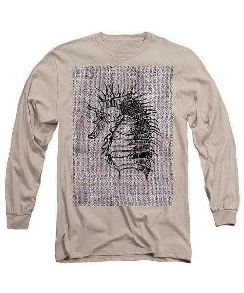 Seahorse On Burlap Long Sleeve T-Shirt