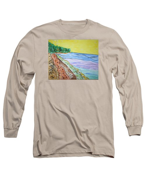 Long Sleeve T-Shirt featuring the painting Seashore Bright Sky by Stormm Bradshaw