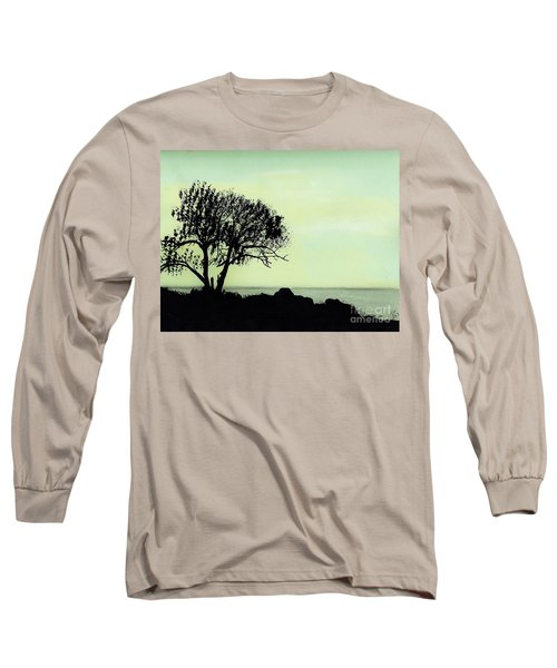 Long Sleeve T-Shirt featuring the drawing Seashore Silhouette by D Hackett