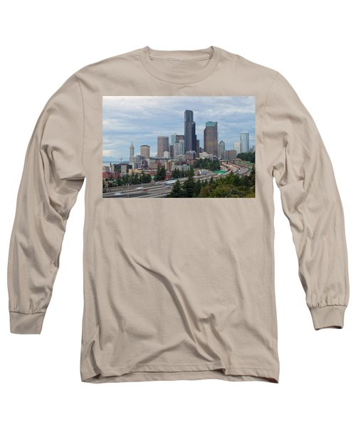 Long Sleeve T-Shirt featuring the photograph Seattle Downtown Skyline On A Cloudy Day by JPLDesigns