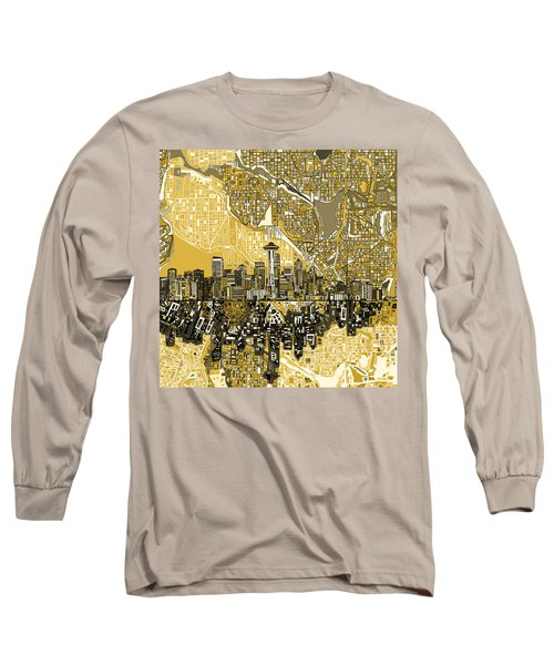 Seattle Skyline Abstract 2 Long Sleeve T-Shirt