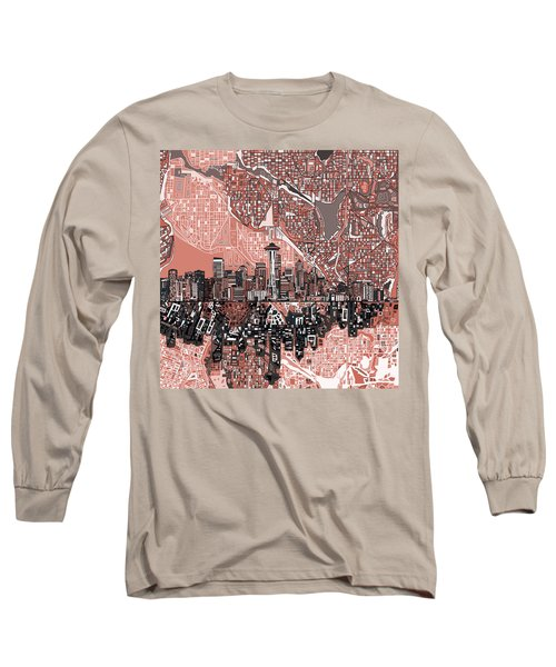Seattle Skyline Abstract 5 Long Sleeve T-Shirt
