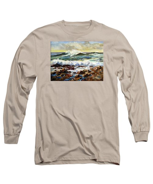 Long Sleeve T-Shirt featuring the painting Seawall by Lee Piper