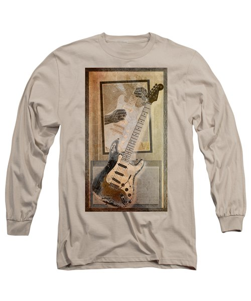 Long Sleeve T-Shirt featuring the digital art Sepia Strat by WB Johnston
