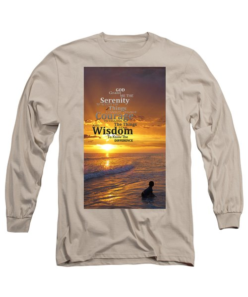 Serenity Prayer With Sunset By Sharon Cummings Long Sleeve T-Shirt