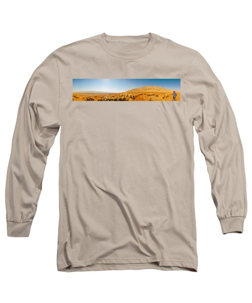 Shepherd Standing With Flock Of Sheep Long Sleeve T-Shirt