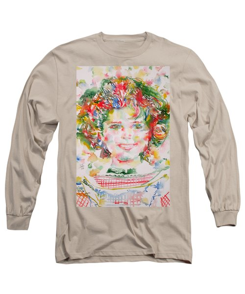 Shirley Temple - Watercolor Portrait.1 Long Sleeve T-Shirt by Fabrizio Cassetta