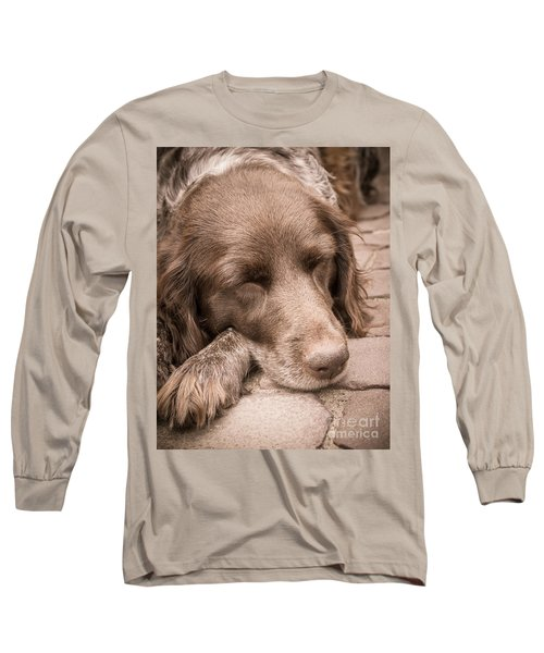 Long Sleeve T-Shirt featuring the photograph Shishka Dog Dreaming The Day Away by Peta Thames