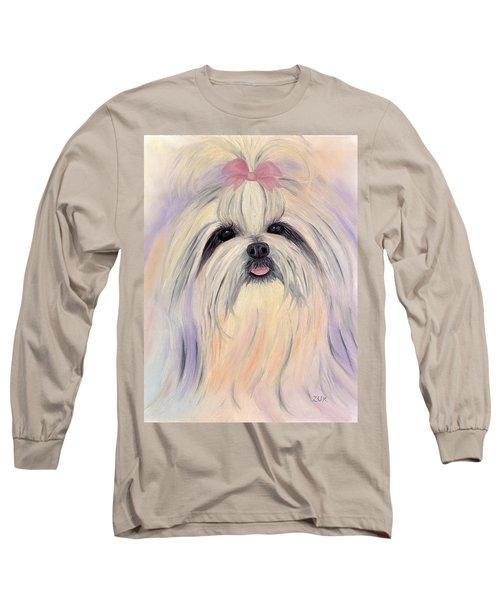 Long Sleeve T-Shirt featuring the painting Shitzu Essence by Karen Zuk Rosenblatt