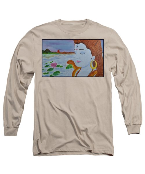 Long Sleeve T-Shirt featuring the painting Shiva by Bliss Of Art