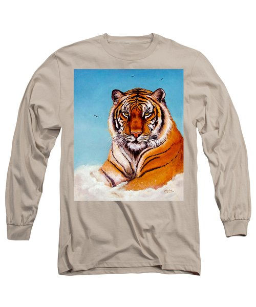 Long Sleeve T-Shirt featuring the painting Siberian King Tiger by Bob and Nadine Johnston