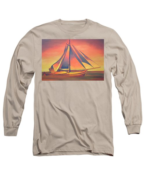 Long Sleeve T-Shirt featuring the painting Sienna Sails At Sunset by Tracey Harrington-Simpson