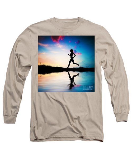 Silhouette Of Woman Running At Sunset Long Sleeve T-Shirt